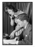 Boss with Secretary on the Phone Giclee Print