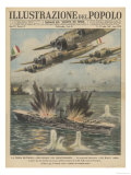 """The British Aircraft-Carrier """"Ark Royal"""" is Attacked by Waves of Italian Warplanes Giclee Print"""
