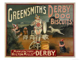 "Circus Dogs Advertising ""Greensmiths Derby"" Dog Biscuits Giclee Print"