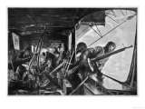 The Interior of a Zeppelin in the Course of a Bombing Raid on England Giclee Print