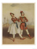 Carlotta Grisi, Italian Ballet Dancer Seen Here with Jules Perrot in La Polka Giclee Print