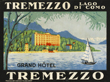The Label for the Grand Hotel at Tremezzo on Lake Como Reproduction giclée Premium