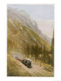 Canadian Pacific Railway Train Emerges from the Connaught Tunnel in the Selkirk Mountains Giclee Print