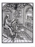 Scholar with an Interest in Astronomy Reading in His Study Giclee Print