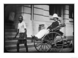 Man Wearing a Pith Helmet Being Transported by Rickshaw Probably in India Giclee Print