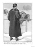 Back View of an American Fur- Line and Fur-Trimmed Overcoat with Pocket Flaps and Back Vent Giclee Print