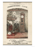 Grandfather Sits Next to a Grandfather Clock in a Cosy Room Giclee Print