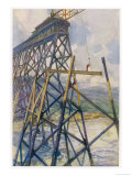 Construction of the Battle River Viaduct of the Grand Trunk Pacific Railway Giclee Print