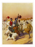 Group of Young Men Play Football in Sudan, are They Aware of the Handball Rule? Lámina giclée