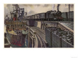 Coal Train Hauled by a 4-4-2 Tank Locomotive at the Harbourside Giclee Print