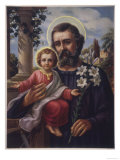 San Jose (Saint Joseph) Holds His Son in One Hand a Lily Stem in the Other Premium Giclee Print