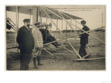 Wilbur Wright Makes a Last Minute Check Before Taking to the Air with a Passenger Giclee Print