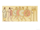 Ancient Greeks Race While Running in Armour and Carrying a Shield Giclee Print