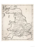 Map Depicting the Network of Roman Settlements in Britain Giclee Print