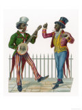 Pair of Minstrels One Playing a Banjo Giclee Print