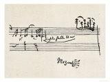 Kadence, med Mozarts signatur Giclée-tryk