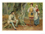 As You Like It, Orlando Rosalind and Celia in the Forest of Arden Giclee Print