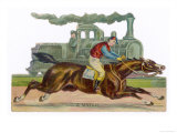 Racehorse Competes with a Steam Engine Giclee Print
