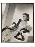 "American Film Star Joan Bennett Models a Dress She Wears in Her Latest Picture ""Girl Trouble"" Giclee Print"