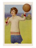Women's Football: The Referee with Her Whistle About to Start the Game Giclee Print