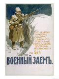 Russian Soldiers in the Snow- Covered Treaches are Featured Giclee Print