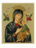 Mary and Jesus with Attendant Angels as Depicted in a Russian Icon Giclee Print