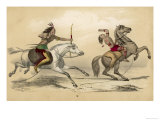 Two Native Men on Horseback: One Has Shot the Other in the Back with an Arrow Giclee Print