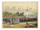 Two Horses Draw a Barge Along a German Canal Giclee Print