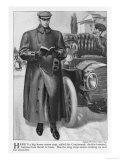 Smartly and Sensibly Dressed in His Big Heavy Motor Coat an American Motorist Checks His Route Giclee Print