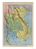 Map Showing the Kingdom of Siam Now Thailand Giclee Print