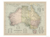Map of Australia with Names of Counties Giclee Print