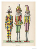 Harlequin Pulcinello, Punch, and Bobeche, Clown Giclee Print