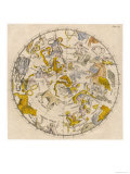 Sky Chart Showing the Signs of the Zodiac and Other Celestial Features Giclee Print