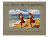 Two Girls in Look-Alike Costume Run Hand in Hand Along the Sand at Felixstowe Suffolk Giclee Print