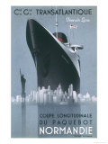Poster Emphasising the Great Size of the French Transatlantic Liner at le Havre Premium Giclee Print