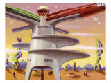 Docking Station on Mars for Visiting Rockets Giclee Print