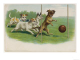 Group of Four Dogs Play a Lively Game of Football One of Them is About to Score a Goal Reproduction procédé giclée
