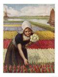 Dutch Girl and Tulips Giclee Print
