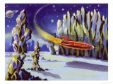 Space Rocket Lands on Venus Giclee Print