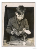 Boy is Taught to Mend His Own Boots in Classes at a London School Giclee Print