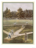 Game of Baseball in an Open Field Spectators Round the Perimeter Giclee Print