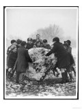 Group of Schoolboys and Girls in Caps Hats and Overcoats Rolling a Dirty Great Snowball! Giclee Print