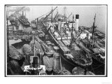 Barges Cranes and Tramp Steamers at the London Docks Giclee Print