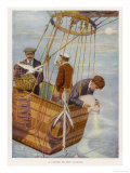 Scene in the Basket of a Balloon. One Man Consults the Altimeter Giclee Print