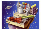 Service Station in Space for Refuelling and Repairing Interplanetary Craft Giclee Print