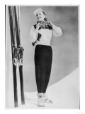 SkIIng Suit with a Wind-Proof Jacket with Lace-Up Front and Contrasting Yoke by Jean Destre Giclee Print