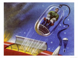 Emergency Ejector Capsule for Space Travellers Enabling Survivors to Parachute to a Planets Surface Giclee Print