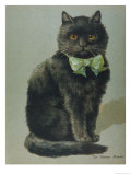 Handsome Black Cat Sir Thomas Mouser Sits Posed with a Green Ribbon Around His Neck Giclee Print