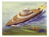 Jet-Propelled Passenger Liner Giclee Print