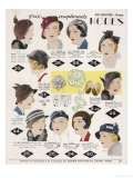 Stylish Selection of Women's Hats Including Many Brimless Designs Giclee Print
